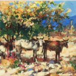 Under The Shade Tree Original Acrylic painting by Canadian artist Brent Heighton