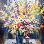 Studio Blossoms Original Acrylic painting by Canadian artist Brent Heighton