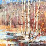 Through The Aspen Grove Original Acrylic painting by Canadian artist Brent Heighton