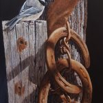Chickadee And Horseshoe original acrylic by Canadian artist darren Haley