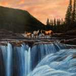 Wild Horses At Elbow Fallsoriginal acrylic painting by Canadian artist Darren Haley