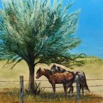 Fence Line Shade Original Oil painting by Canadian artist Diane M Anderson