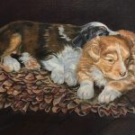 Rug Rats original oil painting by Canadian artist Diane M Anderson