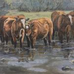 Watering Hole original Oil painting by Canadian artist Diane M Anderson