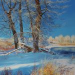 River Bank Original Painting by Artists On Tour Artist Andrew Kiss