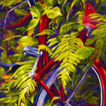 Original Acrylic Bicycle Painting by Artist On Tour Artist Debra Martin