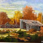 Chicken House original oil painting by Canadian artist Neil Patterson