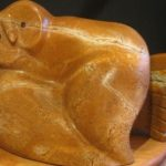 A Sharp Turn soapstone carving by Canadian artist Vance Theoret