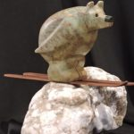 Powder To The People soapstone carving by Canadian artist Vance Theoret