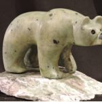The Green Eating Machine soapstone carving by Canadian artist Vance Theoret