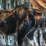 Bull Moose My Neighbor original painting by Canadian artist David Zimmerman
