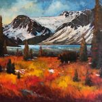 Bow Lake Grizzly original oil painting by Canadian artist Neil Patterson