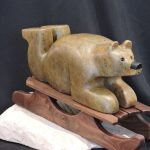 Bear Soapstone carving by Vance Theoret