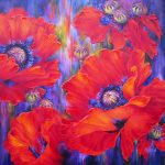 Poppie painting by Artists on Tour artist Debra Martin